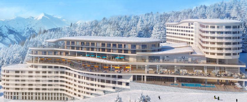 Club Med Arcs Panorama, en France - Vue aérienne de l'extérieur du Complexe