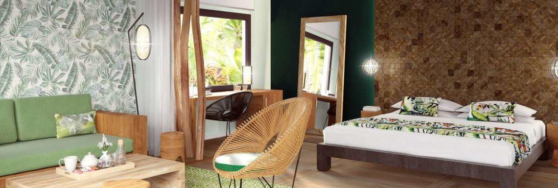 Club Med Miches Playa Esmeralda, en République Dominicaine - Vue du salon et de la chambre d'une chambre Deluxe