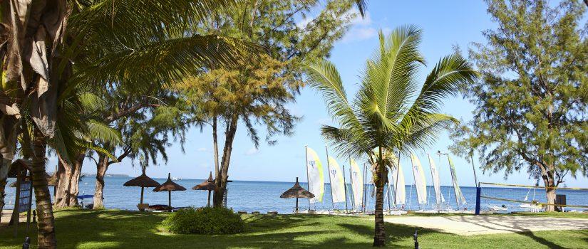 Jardins extérieurs avec des voiliers et catamaran au loin