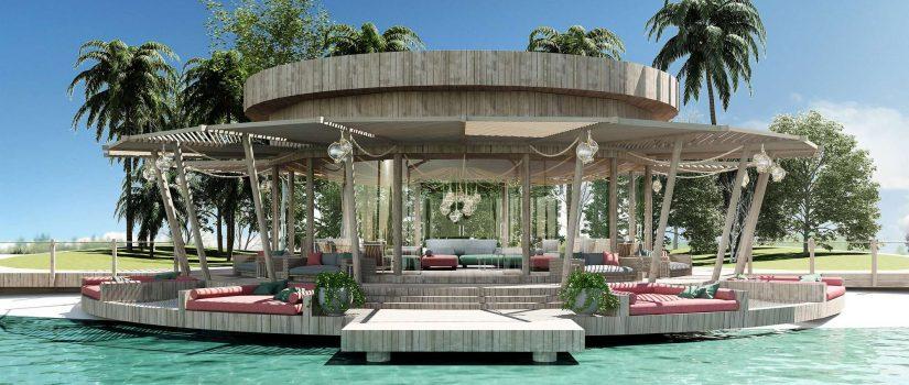 """Club Med Kani, aux Maldives - Vue extérieure du nouveau bar """"Manta Exclusive Collection Lounge"""""""