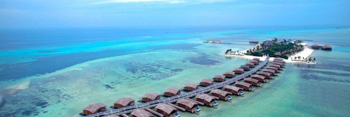 Club Med Villas de FInolhu, aux Maldives - Vue aérienne des Villas de Finolhu dans la lagune bleu turquoise