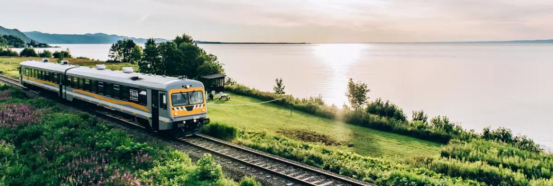Photo d'un train de campagne à côté d'un lac au printemps