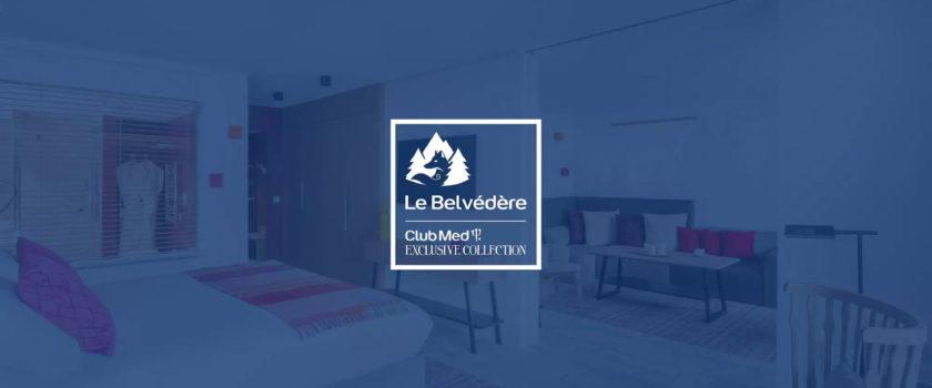 Club Med Arcs Panorama, en France - Photo du logo sur fond bleu de la Collection Exclusive Le Belvédère